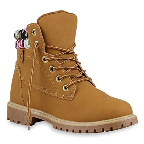 UNISEX Damen Herren Worker Boots Profil Sohle Stiefeletten Outdoor Schuhe Hellbraun Muster