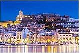 ZZXSY Puzzle 1000 Pezzi Adulti Ibiza Dalt Vila Centro di Notte con Riflessi di Luce nell'Acqua Ibiza Puzzle Giocattolo in Legno Decorazione della Casa