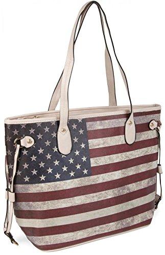 styleBREAKER Designer Handtasche im Vintage USA Stars and Stripes Design, Henkeltasche, Schultertasche, Damen 02012003, Farbe:Creme-Beige (Design Tote Handtasche)