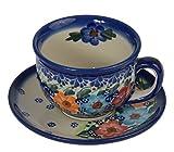 Traditionelle Polnische Keramik, Handgefertigte Teetasse und Untertasse im Bunzlauer Stil (210ml) F.101 (Garland collection)
