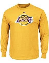"Los Angeles Lakers Majestic NBA ""Supreme Logo"" Men's Long Sleeve T-Shirt Chemise - Gold"
