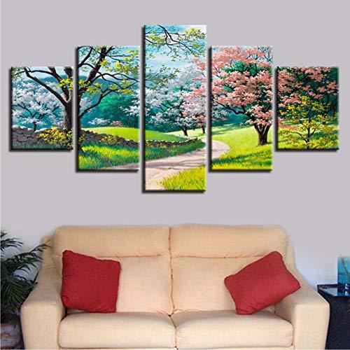 czxmp (con cornice) hd stampa decor parete modulare tela pittura 5 pezzi verde alberi fiori erba percorso primavera paesaggio naturale immagine poster art40x60cmx2 40x80cmx2 40x100cmx1
