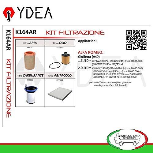 Kit Tagliando Filtri Filtrazione Giulietta 1.6 2.0 JTDm - Ydea K164AR
