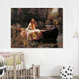 zgmtj The Lady of Shalott Women Portrait Canvas Painting Vintga Poster And Prints Scandinavian Nordic Wall Immagine per Living Room