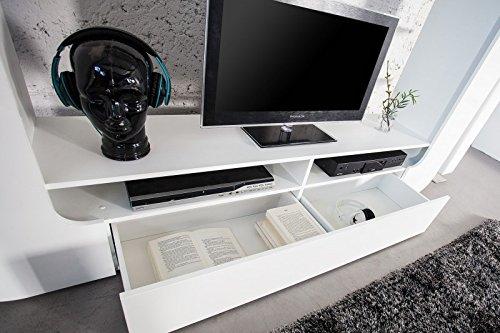 DuNord Design Wohnwand TV-Wand Schrankwand RETROCUBE weiss 185cm Hochglanz Mediawand Anbauwand - 3