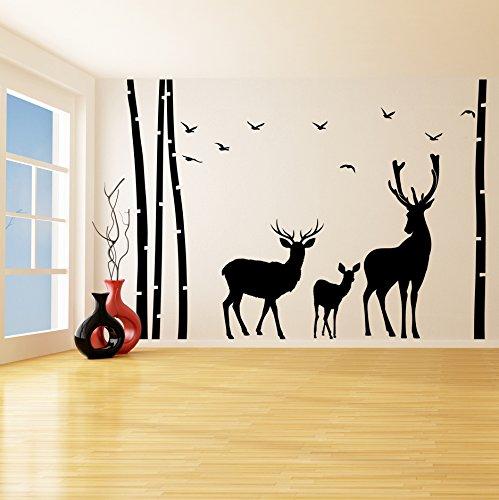 (240 x 169 cm, Vinyl, Baum, Vögel, Sträucher & Deer Silhouette/Nature Rentier Family Art Decor Wandtattoo/Wandaufkleber, Vinyl, personalisierbar, inklusive zufällig Geschenk! (Rentier-maschine)