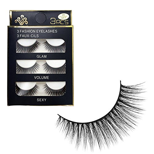 ✿Higlles False Eyelashes, Best Fake Lashes Extension for Natural, Ultra Thin Fiber Eye lashes Extension, No Glue Allergy, (3 Pieces), Natural Handmade