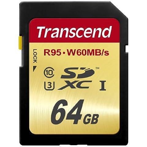 Transcend TS64GSDU3 - Tarjeta de memoria SD de 64 GB (95 Mb/s, SDXC, clase 10), negro