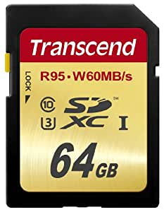 Transcend 64 GB High Speed 10 UHS-3 Memory Card 95/60 MB/s (TS64GSDU3)