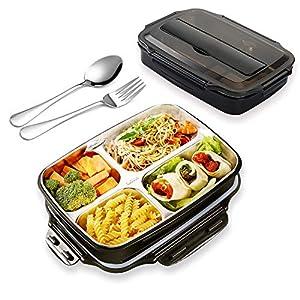 AUPLAY Lunchbox 4-Fach Bento Box Edelstahl auslaufsicheres Mittagessen Aufbewahrungsbehälter für Kinder Schule und Büro für Erwachsene (Schwarz)