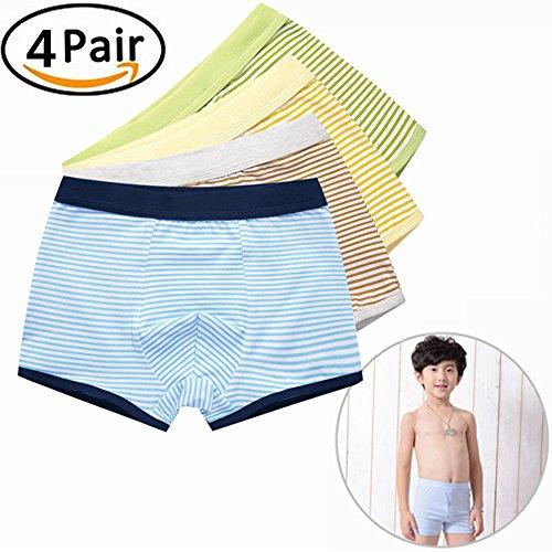 Dotbuy Boxers Garcon, Boxer Slip Lot de 4 Garçon Bébé Enfant Culotte Pantalon sous-Vêtement en Coton 3-14 Ans (130cm(7-8years), Bandes de Couleur Solide)