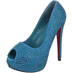 Damen Schuhe, 59847-13, PUMPS, STRASS PEEP TOE HIGH HEELS, Synthetik in hochwertiger Wildlederoptik , Türkis, Gr 36
