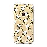 MUTOUREN iPhone 6 Plus/6S Plus case cover Shock-Absorption Bumper with Anti-Scratch Clear Back Ultra Slim Super Soft TPU Silicone Gel Back Skin-Bai Bing cone, ice cream cone