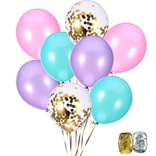 (Jovitec 40 Stück Ballons 12 Zoll Blau, Rasa, Lila und Gold Konfetti Ballon für Meerjungfrau Geburtstag Dekoration)
