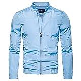 KPILP Jacket Herren Strickjacke Beiläufig Langarm Solide Stehkragen Windbreaker Zipper Oberteile Bluse Herbst Winter(Hellblau,EU-56/CN-XL