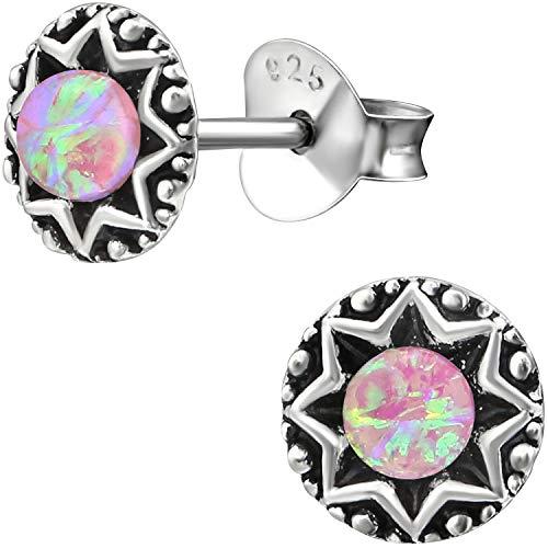 EYS JEWELRY Damen-Ohrstecker rund Vintage 925 Sterling Silber rhodiniert synthetischer Opal rosa-pink 6 mm Damen-Ohrringe im Schmuck-Etui (Ohrring-etui)