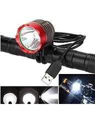 Frontal Faro Faros delantero luz Bici Bicicleta Ciclismo 1200 lúmenes Linterna XML T6 LED Impermeable USB Power para manillar de bicicletas (Rojo)