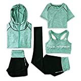 Ynjerae Damen Sportanzug Set, 5tlg. Stretchy Fitness Training Set Yoga Anzug (Green,S)