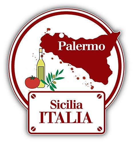 Palermo City Italy Travel Label Vinyl Decal Adesivo per Laptop, Frigorifero, Chitarra, Auto, Moto, Casco, Cassette degli Attrezzi, 10,2 cm di Larghezza, Vinile, Multi, 4 inch in Width