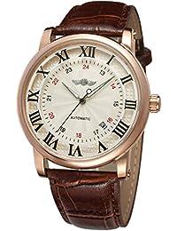 Forsining Casual Men s Skeleton Alloy Case Leather Strap Automatic  Mechanical Wrist Watch WRG8051M3R7 46ea559ea7c