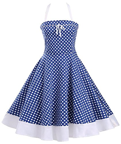 Brinny 2017 Femme Robe Vintage 1950's Audrey Hepburn pin-up robe de soir¨¦e cocktail style halter ann¨¦es 50 ¨¤ pois Bleu