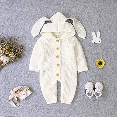 Chennie Kleinkind Baby Outfits Winter Kaninchen Ohr Langarm Strick Kapuzen Overall Body für 3-24 Monate Baby Mädchen Jungen