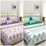 Cotton Combo Bed Sheet Sona FashionS 100% Cotton Combo Set of 2 Double Bedsheet With 4 Pillow Covers)