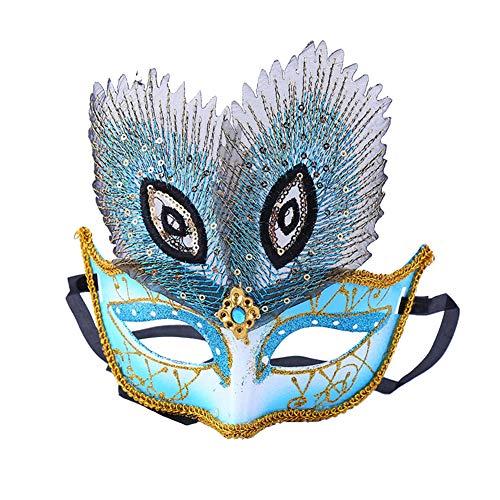 Maske Kostüm Blauen Feder - WDOIT 1 x Damen Maskenball-Maske, glänzend, Party-Requisite für Halloween, Weihnachten 17.5 * 18cm blau