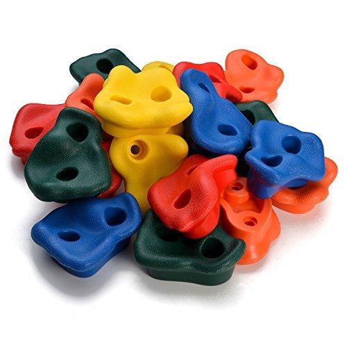 WADEO 20 Piezas Presas de Escalada para niños, Textured Escalada, Escalar Kit para Juego de Patio Interior/al Aire Libre para Niños