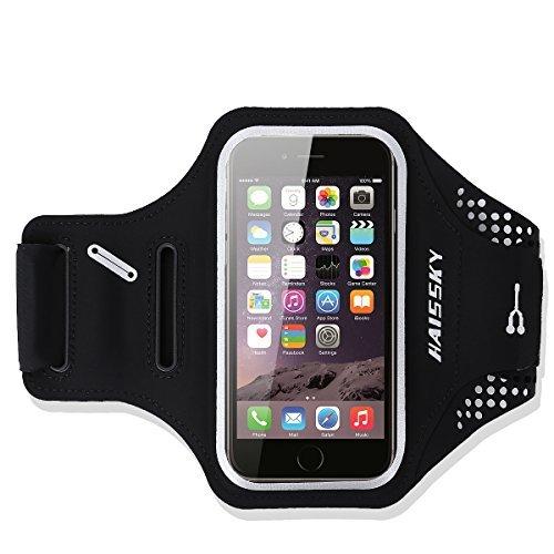 HAISSKY Schweißfest Sport Armband Universell Handyhülle iPhone,Joggen Radsport Fitness Arm Tasche -Mit Schlüsselhalter, Kabelfach,Kartenhalter,für iPhone 8/7/6/6S/SE,Galaxy S7/S6/S5 bis 5.2 Zoll