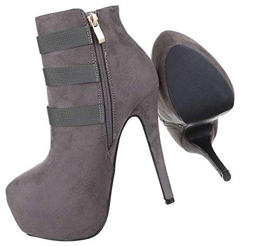 Cinza Ankle Deco Com Femininas Botas Sapatos Preto Boots px7XqPH