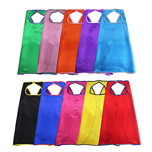 10pieces-Special Satin Boys&Girls Superhero Cape Any Color One (Up Kinder Dress Iron Man)