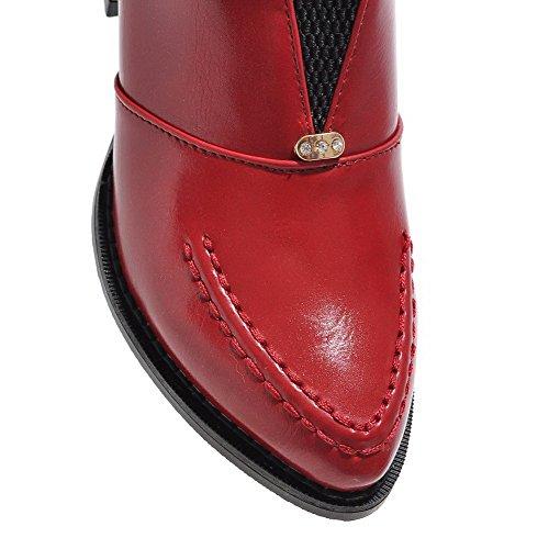 AgooLar Damen Weiches Material Ziehen Auf Spitz Zehe Mittler Absatz Rein Pumps Schuhe Rot