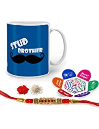 Indigifts Stud Brother Quote Printed Mug 330 Ml, Crystal Rakhi , Roli, Chawal & Greeting Card For Boys/Men
