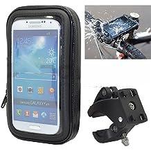 Ibroz Imoove - Soporte universal para moto, scooter o Tmax Soporte para manillar de bicicleta con funda impermeable. Producto apto para: iPhone 6, iPhone 6Plus, Samsung Galaxy Note 4, Note 3, S3, S4, HTC One, Google Nexus 4,5, Nokia Lumia, Sony Xperia Z. Anchura máx.: 9cm. Altura máx.: 15,5cm.
