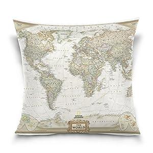 Cuadrado manta decorativa Funda de almohada Funda para cojín, Vintage mapa del mundo,–Funda de almohada