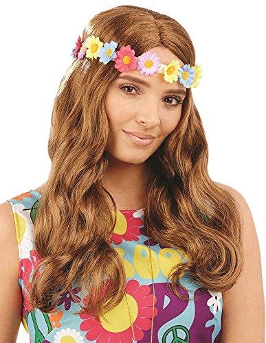 (Wavy Floral Hippie Perücke Damen Fancy Dress 70s 60s Peace Erwachsene Kostüm Zubehör)