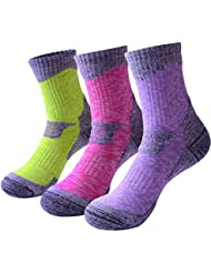 RedMaple 3 Pairs Camping Hiking Walking Socks for Women - Cushioned Comfortable Fitness Athletic Crew Socks for Outdoor Running Trekking Skiing Sports