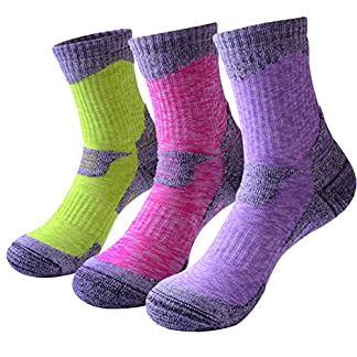 RedMaple 3 Pairs Camping Hiking Walking Socks for Women - Cushioned Comfortable Fitness Athletic Crew Socks for Outdoor Running Trekking Skiing Sports 18