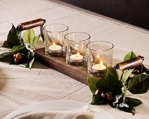 Le'raze Kerzenhalter Mittelpunkt, 3Glas Votiv Tassen auf Holz Base/Tablett für Hochzeit Dekoration Esstisch, mit Griff
