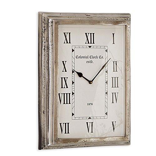 Loberon Uhr Roman, Aluminium/MDF, H/B/T ca. 44/32 / 7 cm, antiksilber