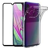 Wanxideng - Coque pour Samsung Galaxy A40 + Protection d'écran en Verre Trempé, Housse Souple Clair Mince Étui en Silicone TPU - Transparent