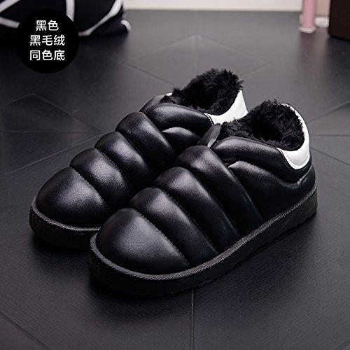 DogHaccd pantofole,Inverno impermeabile in pelle pu uomini e donne matura il cotone Snow Boots corto e fitto studenti caldo cotone piatto scarpe scarpe donna Nero1