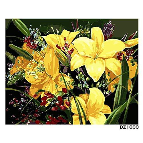 Reine Orchidee (DIY digitale malerei kinder färbung puzzle spiel spielzeug malerei erwachsene reine hand malerei gelb gentleman orchidee dekoration malerei urlaub geschenk 16 * 20 zoll mit inneren rahmen malerei)