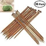 Juego de agujas de tejer de bambú de Foxnovo, 36 unidades, de 2 mm a 10 mm