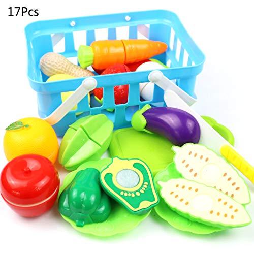 Hletgo 17 Teile / Satz küche Toys Pretend Play schneiden Obst gemüse Kunststoff Trinken Lebensmittel Haus Toys warenkorb Korb Set für Kinder Geschenke