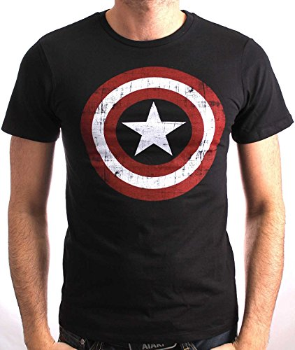 Cotton Division Capt America Shield Logo Black M (Capt Shield America)