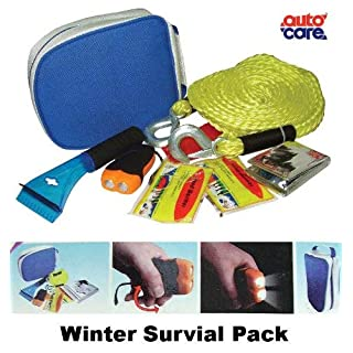 New Autocare CAR WINTER SURVIVAL PACK -Tow Rope, Torch, Blanket, Warmer, Scraper