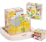 9 pezzi Large Size educativo prescolare cubo di legno Block Puzzle, miglior giocattolo regalo di compleanno per età 3 4 5 anni in su del bambino dei bambini dei ragazzi dei bambini Ragazze