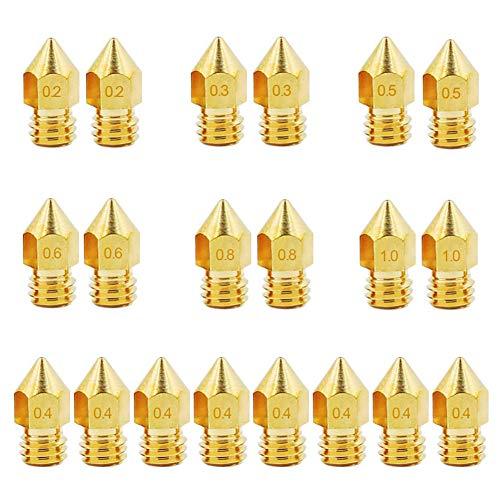 KeeYees 20 Pezzi Ugello Stampante 3D M6, 0,2 mm 0,3 mm 0,4 mm 0,5 mm 0,6 mm 0,8 mm 1,0 mm Ottone Testine di Stampa per Estrusore MK8 Anet A8 / A6
